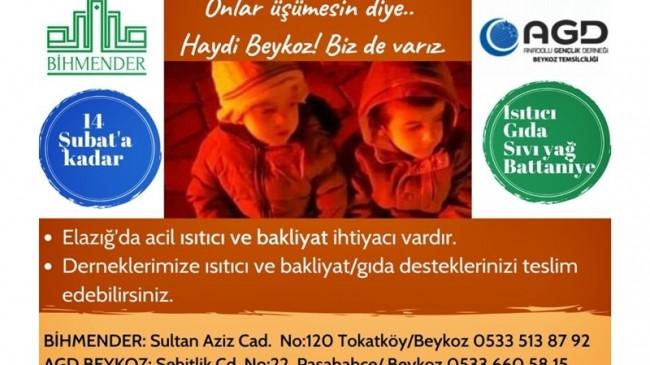 AGD Beykoz ve Bihmender Dernekleri Yardım Kampanyası Başlattı